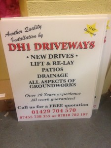 DH1 Driveways Correx Board / Fluted Estate Agent Boards